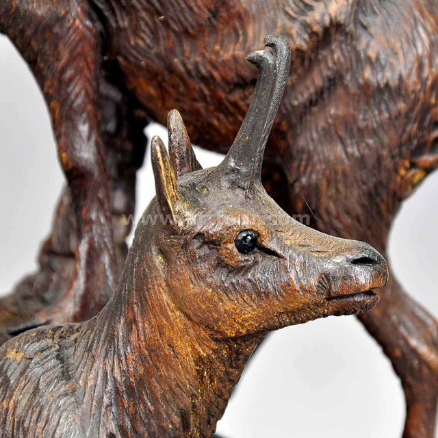 A Carved Wood Chamois Group, Austria Ca. 1920 For Sale - Image 4 of 7