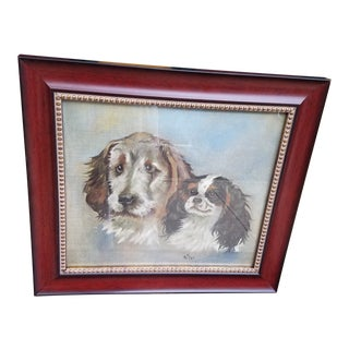 1911 English Dog Portraits on Canvas, Framed For Sale