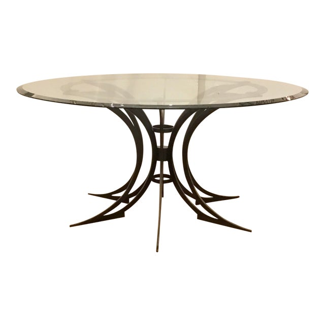 Global Views Modern Iron and Glass Revolution Dining Table For Sale
