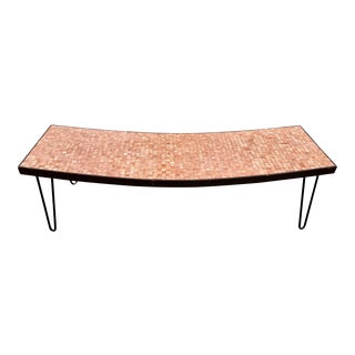 Mid Century Coffee Table Curved with Mosaic Tile For Sale