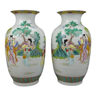 Gorgeous Pair of Chinese Famille Rose Mirror Imaged Immortal Vases