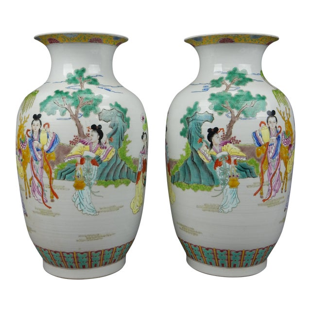Gorgeous Pair of Chinese Famille Rose Mirror Imaged Immortal Vases For Sale