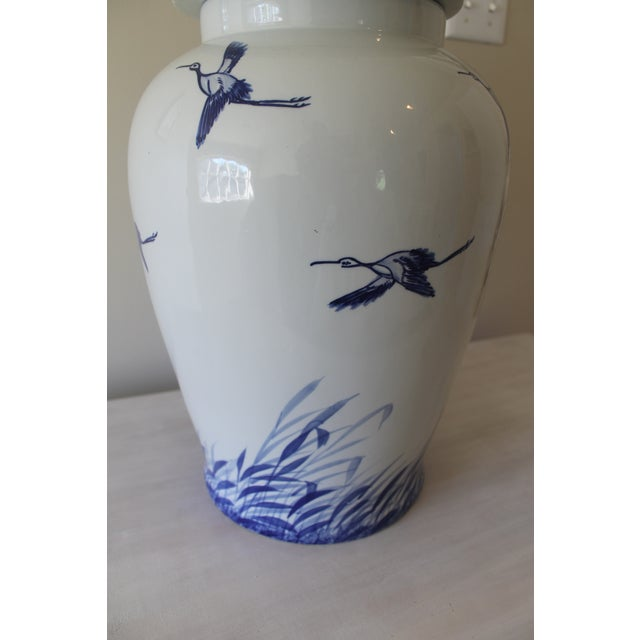 Asian Style Blue & White Chinoiserie Ginger Jar For Sale - Image 4 of 5