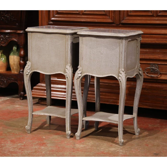 Pair of 19th Century French Louis XV Carved Painted Nightstands With Marble Top For Sale - Image 9 of 10