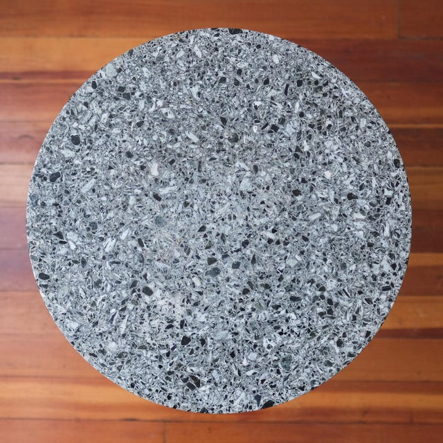 Black Terrazzo And Iron Side Table 1950s