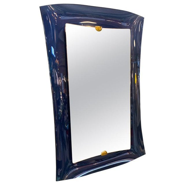 Fontana Arte Blue Mirror, Italy C. 1950s For Sale - Image 9 of 9
