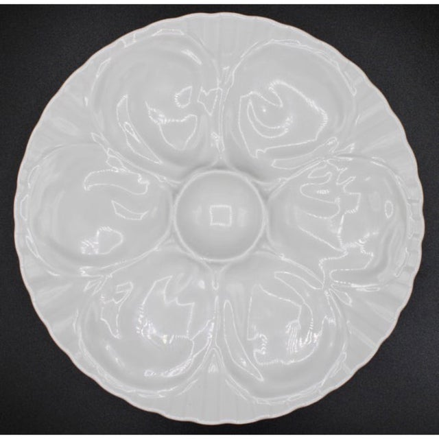 White Vintage French Pillivuyt White Oyster Plate For Sale - Image 8 of 8