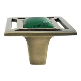 Addison Weeks Evans Knob, Antique Brass & Malachite For Sale