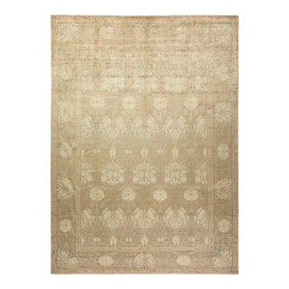 """Eclectic, One-Of-A-Kind Hand-Knotted Area Rug - Beige, 9' 1"""" X 12' 7"""" For Sale"""