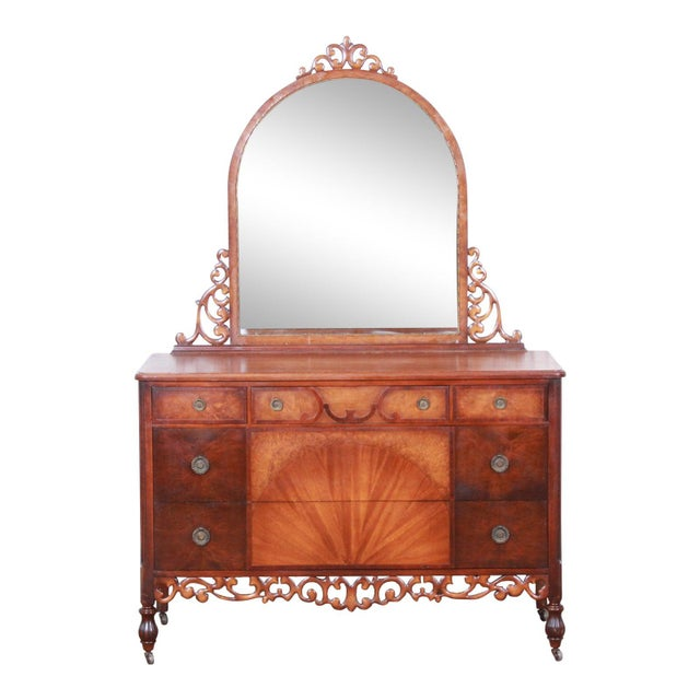 Early Herman Miller Carved Walnut and Burl Wood Five-Drawer Dresser With Mirror, Circa 1920s For Sale - Image 13 of 13