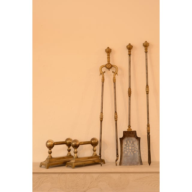Gold Very Decorative Set of Fire Tools, Shovel Poke and Tongs For Sale - Image 8 of 9