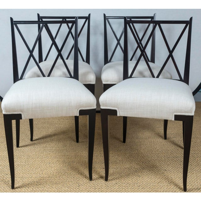 White Mid Century Tommi Parzinger Double 'X' Back Chairs- Set of 4 For Sale - Image 8 of 8