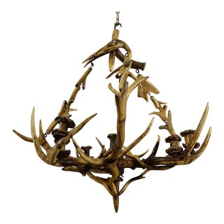 Antique Black Forest Antler Candle Luster 1900 For Sale
