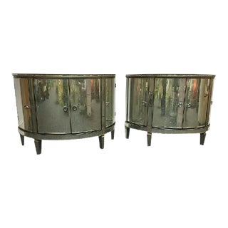 Custom Made Demilune Mirrored Commodes - a Pair