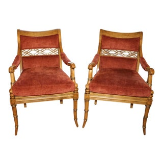 Century Faux Bamboo Regency Chairs - a Pair For Sale