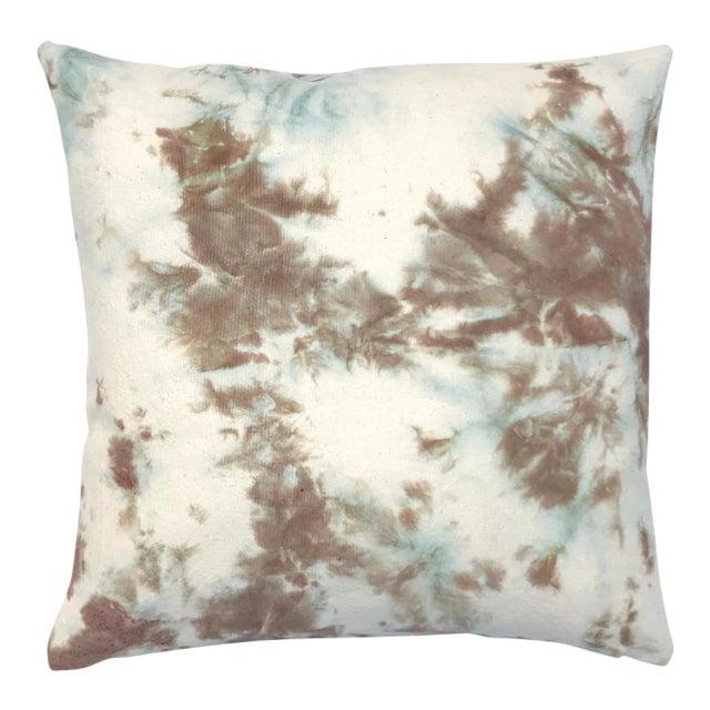 Throw Pillow Method Space Faerie : Tan & Blue Hand Dyed Shibori Marbled Throw Pillow Chairish
