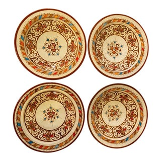 Handmade Light Brown & White Ceramic Serving Decorative, Center Table Plates - Set of 4 For Sale