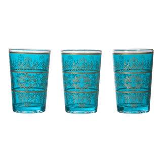 Tunisian Turquoise Tea Glasses - Set of 6