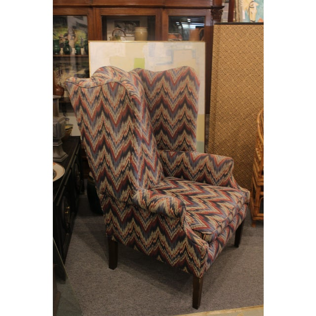 Late 20th Century Flame Stitch Wing Chair For Sale In New York - Image 6 of 8