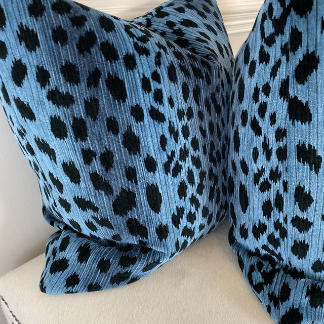 """Transitional Leopard Print Chenille in Blue/Black 22"""" Pillows-A Pair For Sale - Image 3 of 5"""