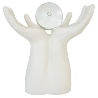 """Late 20th Century """"The Future Is in Your Hands"""" Upturned Hands Sculpture For Sale"""