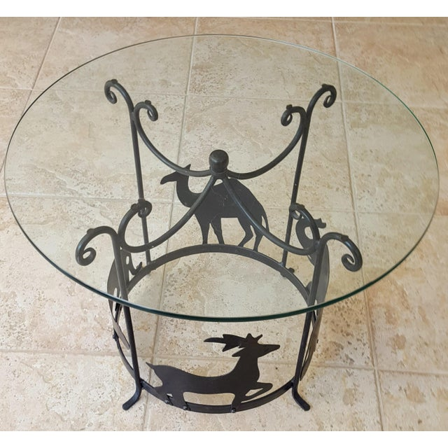 Figurative 20th Century Figurative Hand Crafted Iron Carousel Side Table For Sale - Image 3 of 8