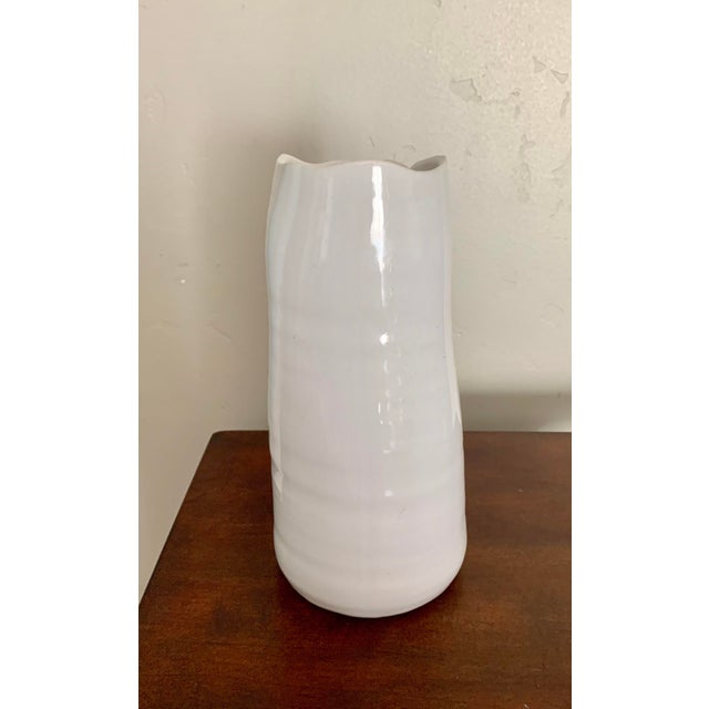 Abstract White Abstract Organic Blanc De Chine Ceramic Vase For Sale - Image 3 of 5