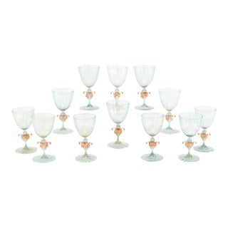 12 Venetian Murano Handblown Aqua Green & Gold Goblets with Pink Figural Swans For Sale