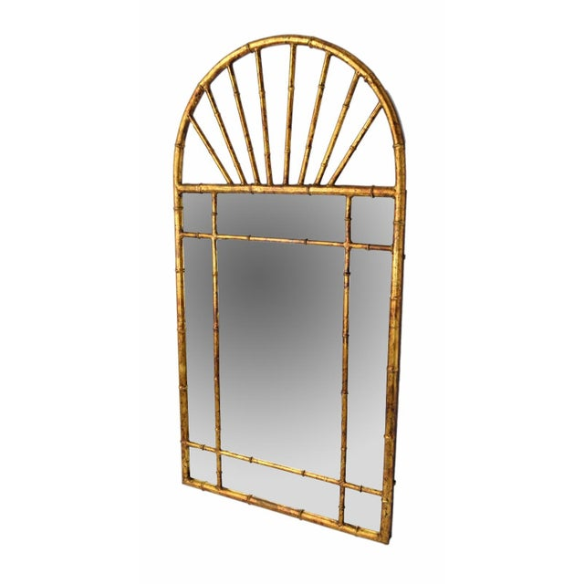 Mid 20th Century Vintage Labarge Oval Top Spanish Gilt Metal Faux Bamboo Wall Mirror For Sale - Image 5 of 7