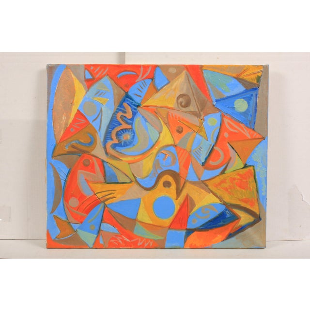 1987 Abstract Composition in Orange and Blue by Lars Larsen For Sale - Image 4 of 4