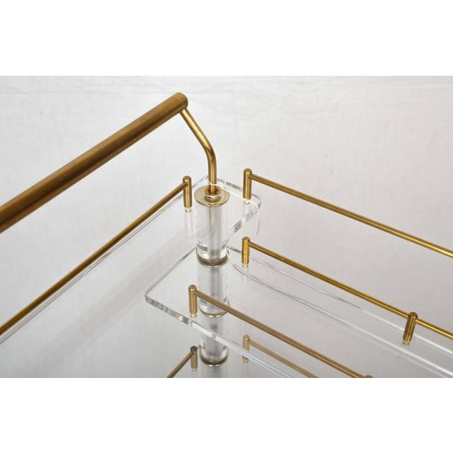 Gold Lucite and Brass Bar Cart on Casters in the Style of Hollis Jones For Sale - Image 8 of 9