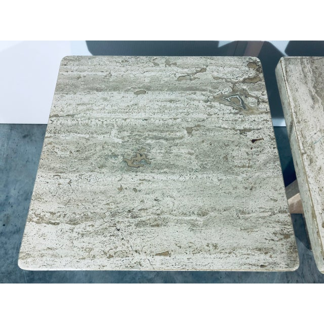 1970s Italian Travertine Side Tables - a Pair For Sale - Image 9 of 13