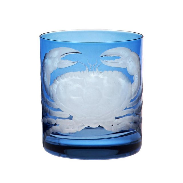 Illustration ARTEL Crab Double Old Fashioned Glass in Blue - Set of 6 For Sale - Image 3 of 4