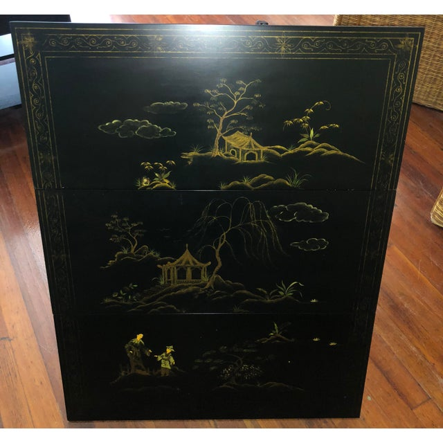 Baker Furniture Company 1980s Chinoiserie Baker Furniture Black Lacquer Gate Leg Side Table For Sale - Image 4 of 11