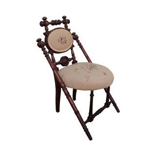 Hunzinger Signed Antique Needlepoint Side Chair