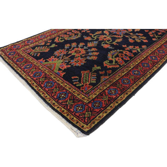 Antique Persian Malayer Hallway Runner with Mina Khani and Guli Hinnai Flower. This hand knotted wool antique Persian...
