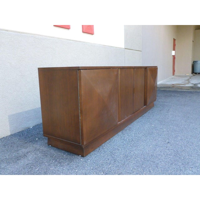 Mid-Century Danish Modern Walnut Credenza W Pyramid & Tambour Doors For Sale - Image 4 of 7