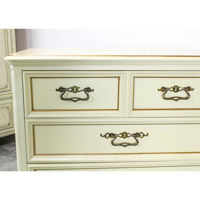 Vintage Provincial Cream Highboy Chest of Drawers For Sale - Image 4 of 10