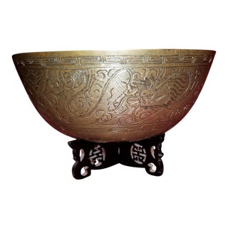 Ming Style Chinese Bronze Bowl on Stand For Sale