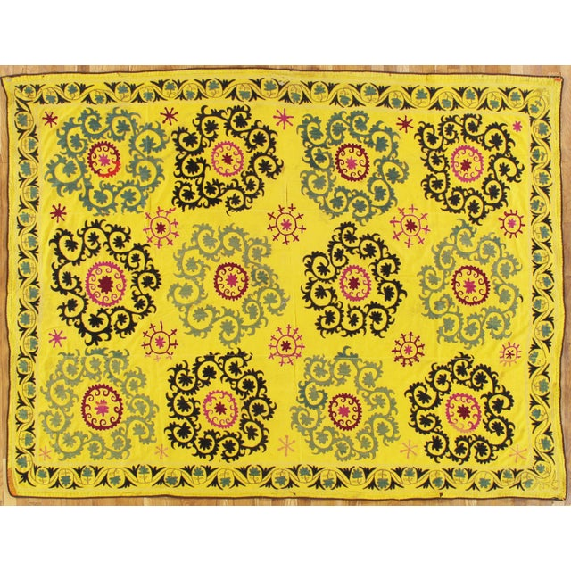 Late 20th Century Suzani Textile Rug - 6′2″ × 8′2″ For Sale - Image 9 of 9