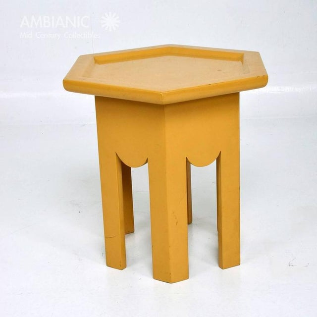 1950s Yellow Lacquer Finish Hexagon Side Table For Sale - Image 5 of 6