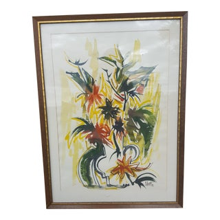 Mid Century Modern Abstract Floral Watercolor Signed