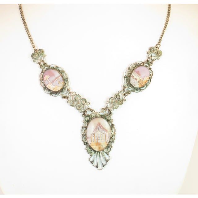 Victorian-Style Landscape Shell Cameo Filigree Necklace Italy 1950s For Sale - Image 12 of 12