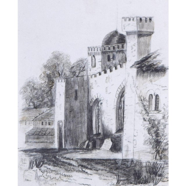 19th Century Antique English Graphite Castle Drawing For Sale - Image 4 of 7