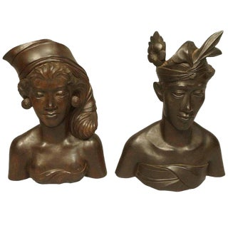 Vintage Mid-Century Carved Indonesian Wooden Busts - A Pair For Sale