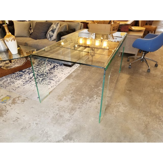 Modern Modern Solid Clear Glass Desk For Sale - Image 3 of 5