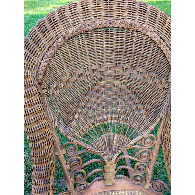 Gold Victorian Wicker Rocking Chair Nursing Rocker in Original Condition Excellent Light Color 1800s Japanese Fanback For Sale - Image 8 of 11
