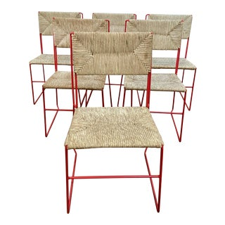1960s French Enameled Woven Chairs - Set of 6