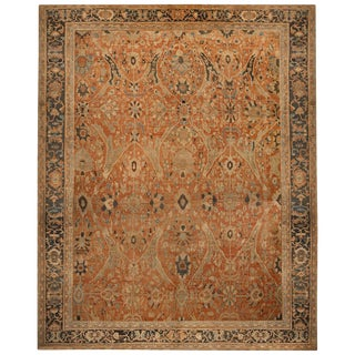 Antique Sultanabad Geometric Orange and Beige Wool Persian Rug For Sale