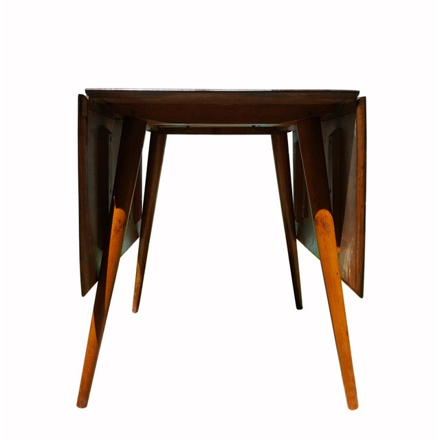 Brown 1950s Mid Century Modern Paul McCobb Planner Group Drop-Leaf Dining Table For Sale - Image 8 of 11
